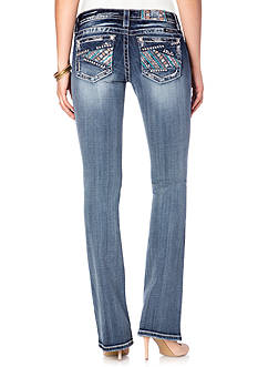 Miss Me Floral Stitchery Boot Cut Jeans