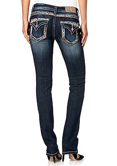 Miss Me Colored Embroidered Straight Jeans