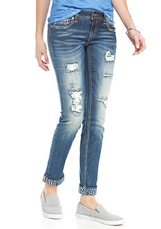 Miss Me Destroyed Rolled Hem Skinny Jean