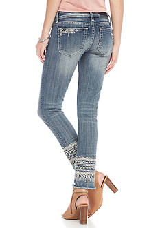 Miss Me Embroidered Hem Ankle Skinny Jean