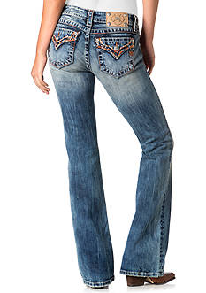 Miss Me Orange Embroidered Pocket Bootcut Jeans
