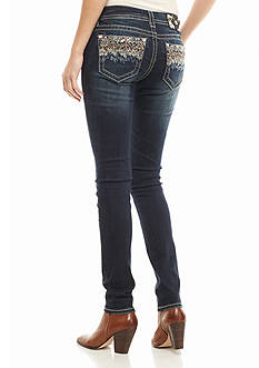 Miss Me Multicolor Stitch Pocket Skinny Jeans
