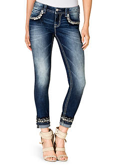 Miss Me Embroidered Cuff Skinny Jean