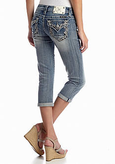 Miss Me Embellished Destroyed Denim Capri Pant
