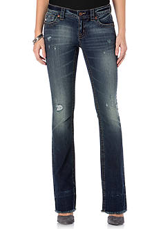 Miss Me Destructed Fray Boot Cut Jeans