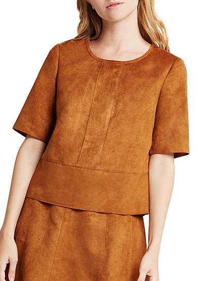 BCBGeneration Faux Sued Seamed Boxy Top