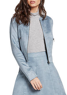 BCBGeneration Faux Suede Zipper Moto Jacket