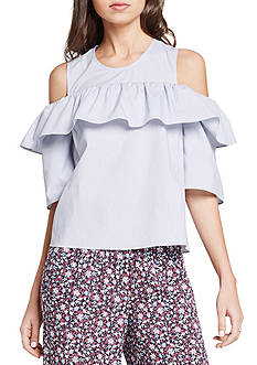 BCBGeneration Cold Shoulder Ruffle Top