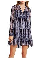 BCBGeneration Tiered Feather Print Dress