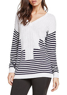 BCBGeneration Striped Intarsia V-Neck Pullover