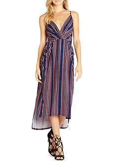 BCBGeneration Striped Faux Wrap Midi Dress