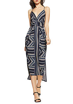 BCBGeneration Printed Faux Midi Wrap Dress
