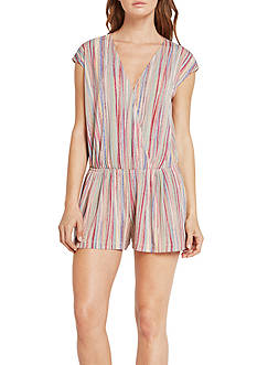BCBGeneration Striped V-Neck Romper