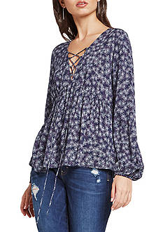 BCBGeneration Lace Up Printed Peasant Blouse