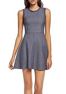 BCBGeneration Stripe Fit & Flare Dress