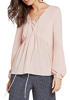 BCBGeneration Lace Up Peasant Blouse