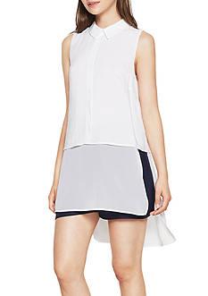 BCBGeneration Chiffon Shirttail Sleeveless Shirt