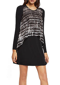 BCBGeneration Striped Overlay A-line Dress
