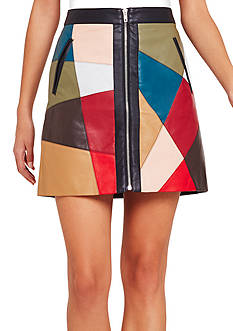 BCBGeneration Faux Leather Patchwork Skirt