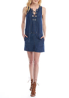 Splendid Indigo Lace Up Dress
