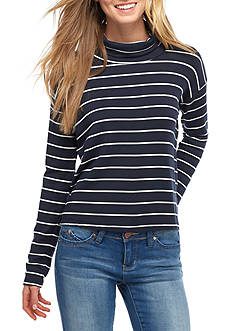 Splendid Stripe Mock Neck Sweatshirt