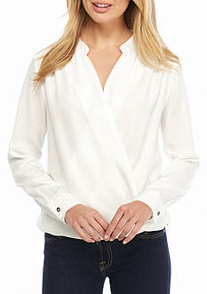 Splendid Wrap Front Crosshatch Blouse