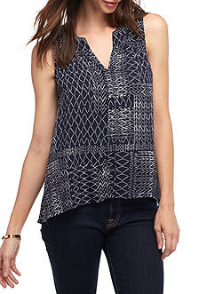 Splendid Patchwork Print Sleeveless Blouse