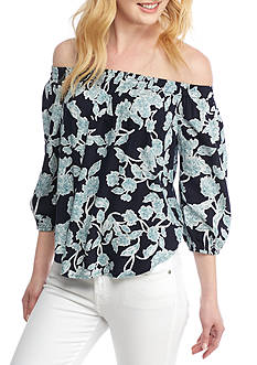 Splendid Etched Floral Off-The-Shoulder Blouse