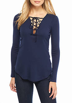 Splendid Lace-Up Knit Top