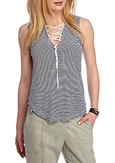 Splendid Lace-Up Mini Stripe Top