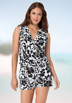 Anne Cole Signature® Paisley V Neck Romper Cover-Up