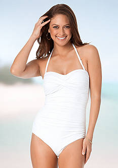 Anne Cole Signature® Solid Twist Front Shirred Bandeau One Piece Swimsuit