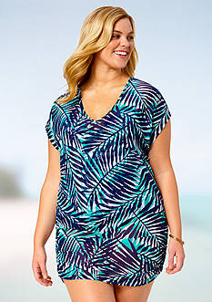 Anne Cole Signature® Plus Size Best Fronds Forever Shirred Cover Up Tee