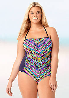 Anne Cole Signature® Plus Size Desert Diamonds Shirred Halter One Piece