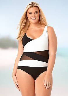 Anne Cole Signature® Plus Size Mesh Over The Shoulder Spliced One Piece Swimsuit