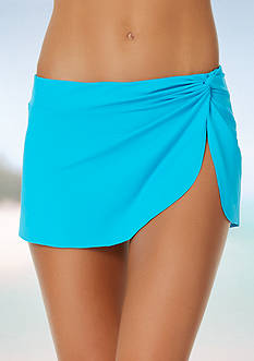 Anne Cole Signature Knot Front Sarong Skirt Swim Bottom