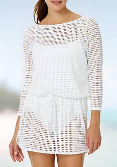 Anne Cole Signature Crochet Boat Neck Tunic Swim Cover Up