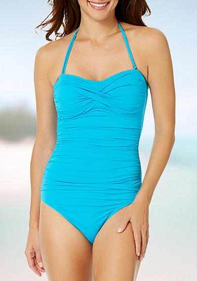 Anne Cole Signature® Color Blast Twist Front Shirred One Piece