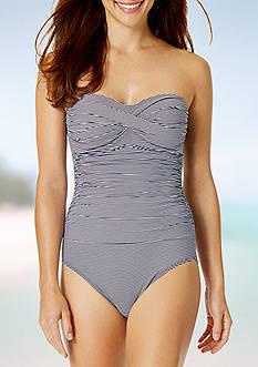 Anne Cole Signature Baby Stripe Bandeau One Piece Swimsuit