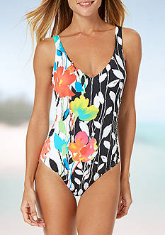 Anne Cole Signature® Growing Floral V-Neck One Piece Swimsuit