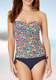 Anne Cole Signature Budding Romance Twist Front Shirred Tankini