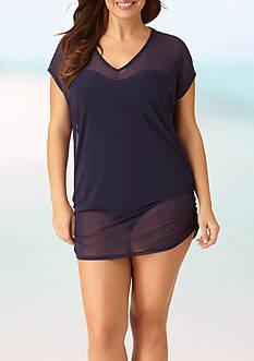 Anne Cole Signature Plus Size Colorblast Mesh V Neck Tunic Swim Cover Up
