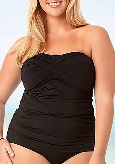 Anne Cole Signature Plus Size Colorblast Twist Front Tankini Swim Top