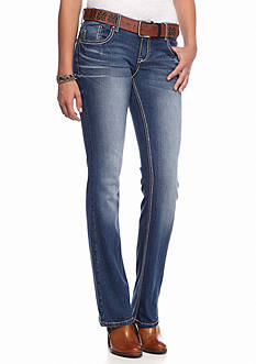 Red Camel® Belted Frayed Embroidered Bootcut Jean