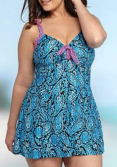 New Directions Plus Size Bountiful Paisley Swimdress