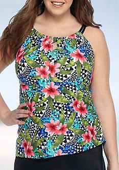 New Directions Plus Size Amazon Queen Hi-Neck Tankini Swim Top
