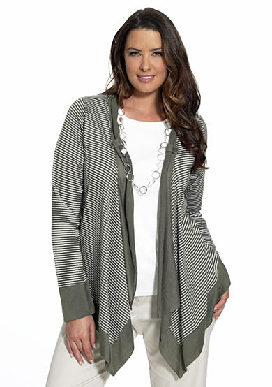 Cha Cha Vente Plus Size Striped Cardigan