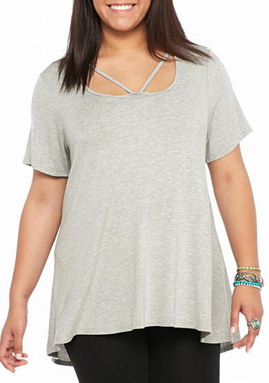 Living Doll Plus Size Short Sleeved Strap Front Tee Belk