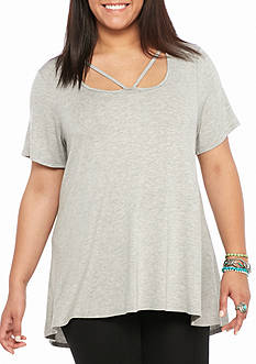 Living Doll Plus Size Short Sleeved Strap Front Tee