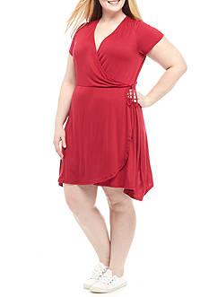 Living Doll Plus Size Faux Wrap Dress